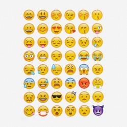 Наклейки-стикеры Emoji (смайлы), 48 шт. на листе